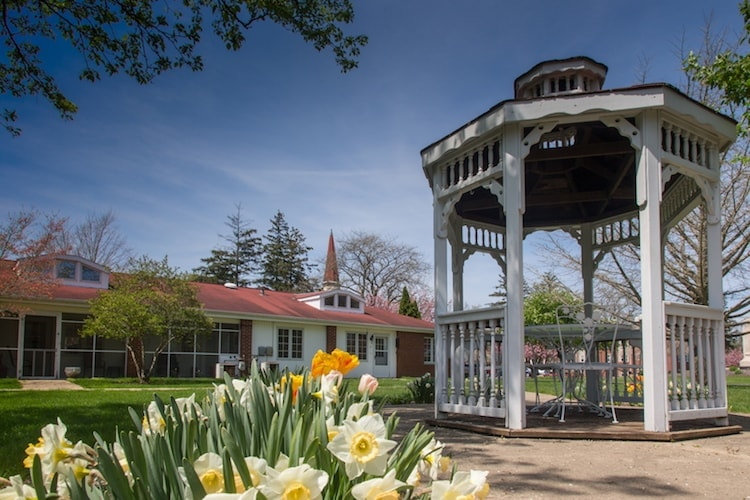 A gazebo sitting in the middle of a park with flowers