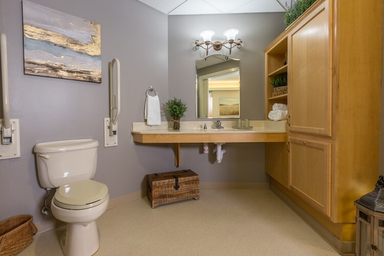 Healthcare private bath with walk in shower