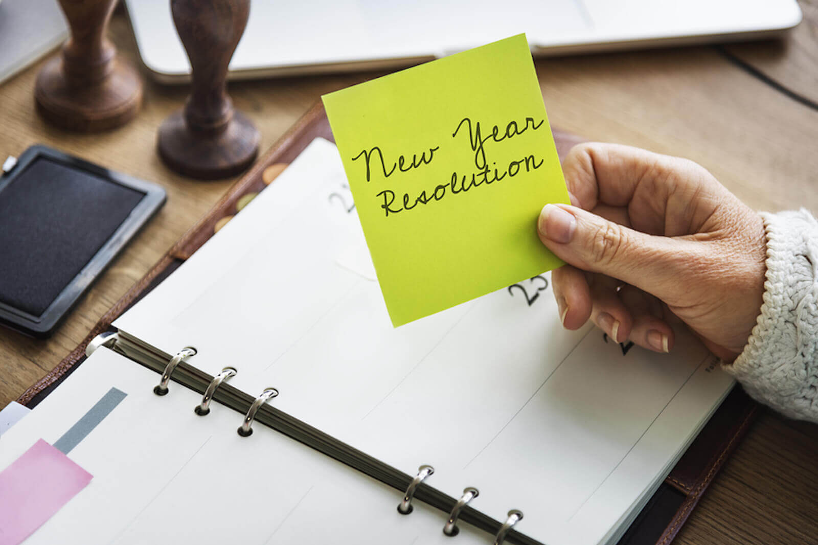 A senior plans out her resolutions for the new year