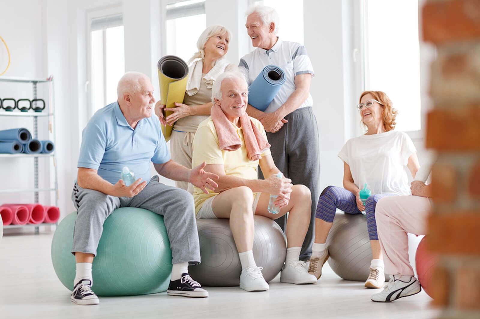 A group of seniors enjoying exercise together