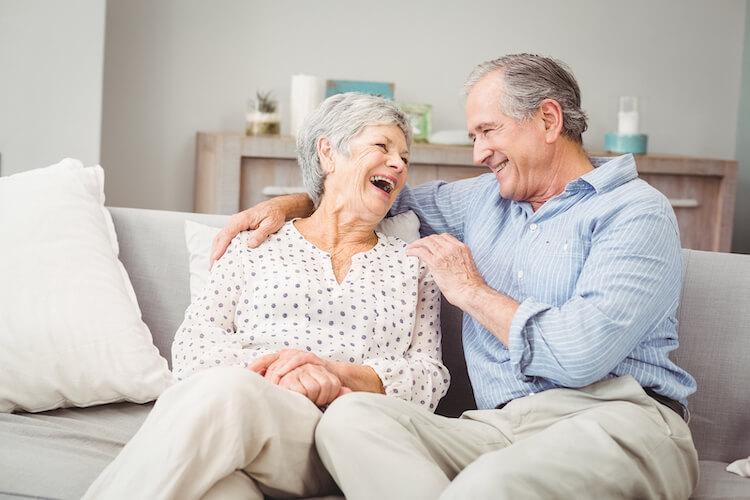 A senior couple enjoys retirement living together