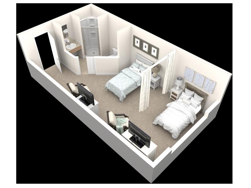 Semi Private 2 Beds Privacy Curtain Healthcare